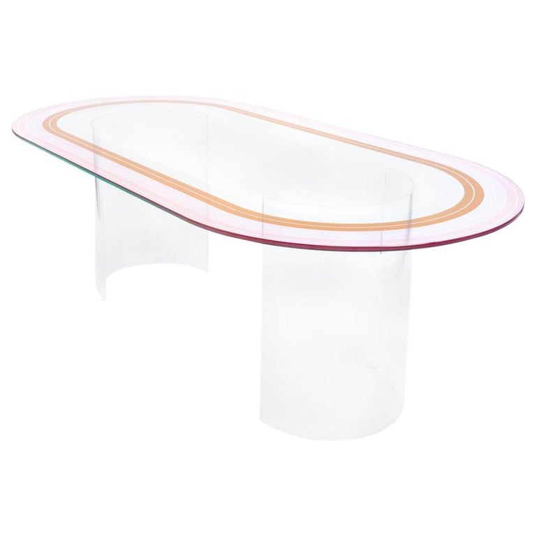 """ Court Series"" Track Dining Table by Pieces, Modern Printed Glass Acrylic Bases For Sale"