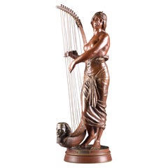 Bronze Semi Nude Sculpture, Tahoser, Egyptian Harpist by Coudray