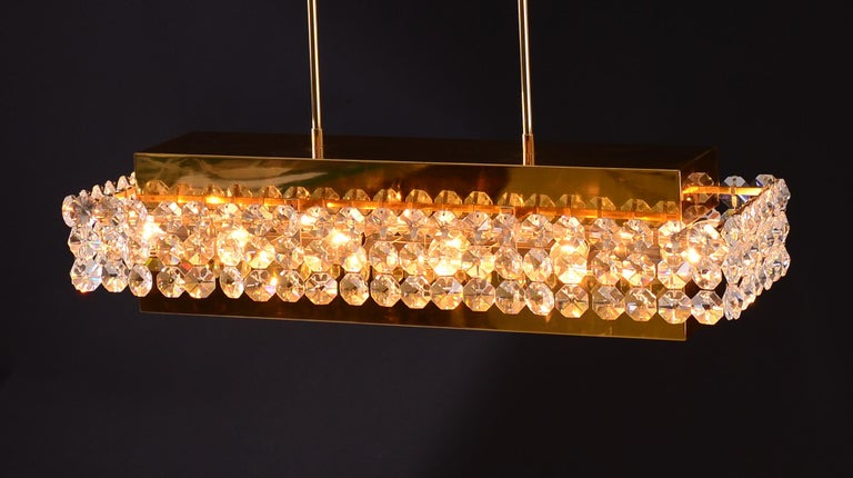 Mid-Century Modern Magnificent Crystal Glass and Brass Chandelier For Sale