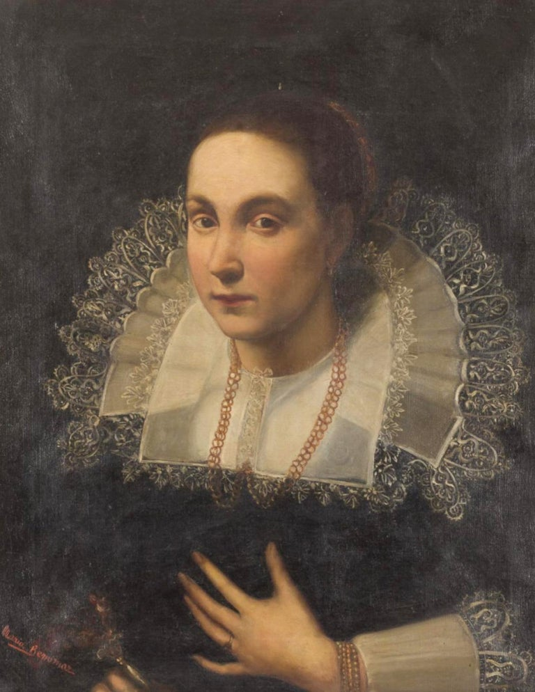 Late 19th century Spanish School Portrait of a Lady oil painting on canvas 60cm x 50cm without frame frame: 15cm.