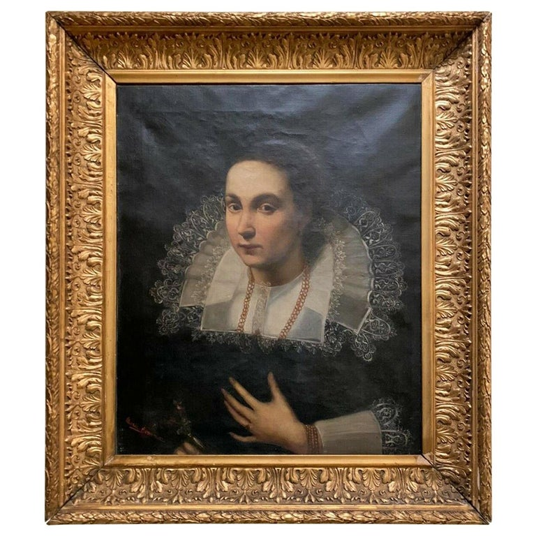 """""""Portrait of a Lady"""" Spanish School 19th Century Sign For Sale"""