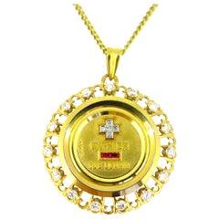 """""""+ Que hier - Que demain"""" Diamonds Pendant Medal by Augis"""