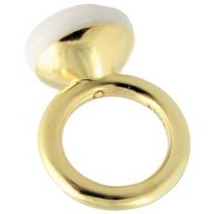 Yellow Gold Plated Fashion Statement Ring TO A DREAM PLANET White Chalcedony