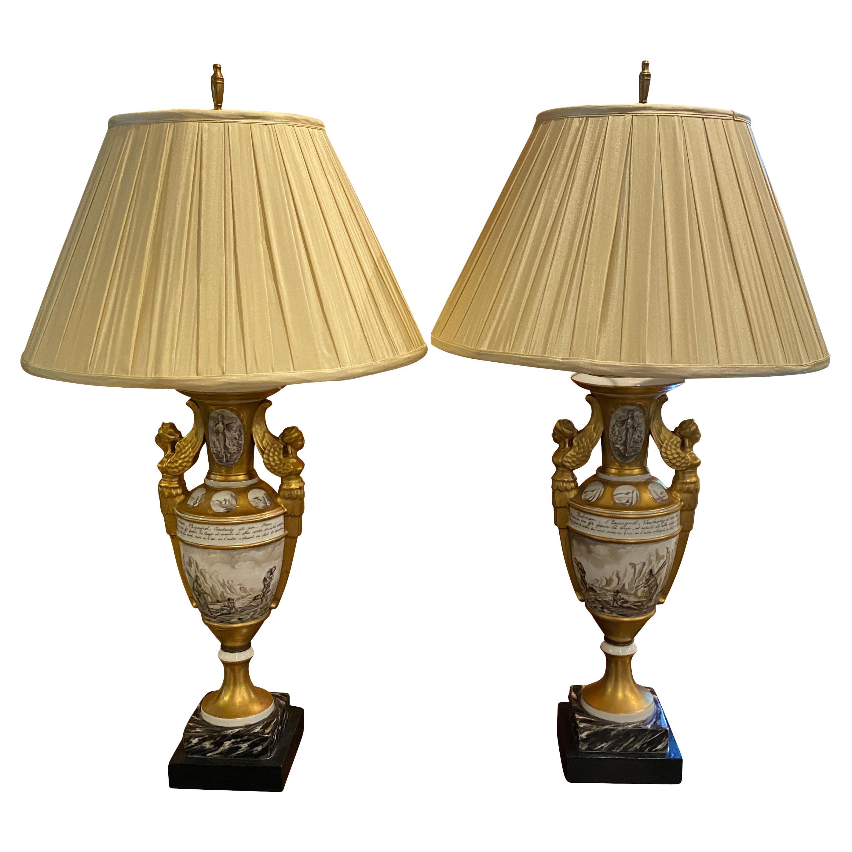 """"""" Vieux """" Paris Porcelain Table Lamps"""