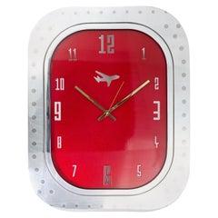 #001-Boeing 747 Window Clock - Polished Aluminium + Red Face