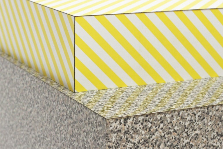 Faceted 001 Table in Postmodern Faux Marble Pattern and Vintage Yellow  Stripe Laminate For Sale