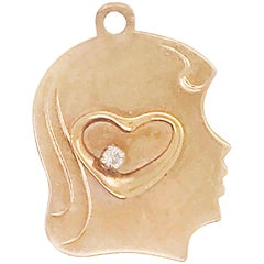 0.03 Carat Diamond Heart and Child's Profile Engrave-Able Charm in 14 Karat Gold