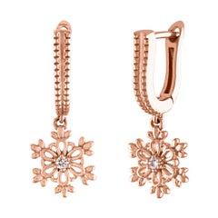 0.03 Carats Diamonds & Rose Gold Snowflake Earrings