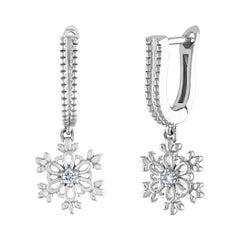 0.03 Carats Diamonds & White Gold Snowflake Earrings