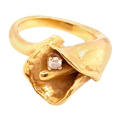 0.05 Carat Diamond Tulip Handmade Custom Estate Ring in 14 Karat Yellow Gold