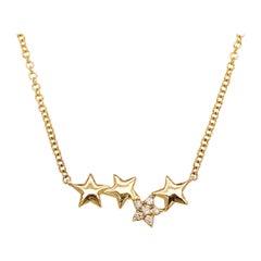 0.05 Carat Round Brilliant Diamond Star Constellation Necklace, 14 Karat Gold