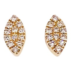 0.06 Carat Diamond Marquise Shaped Earring Studs in 14 Karat Yellow Gold