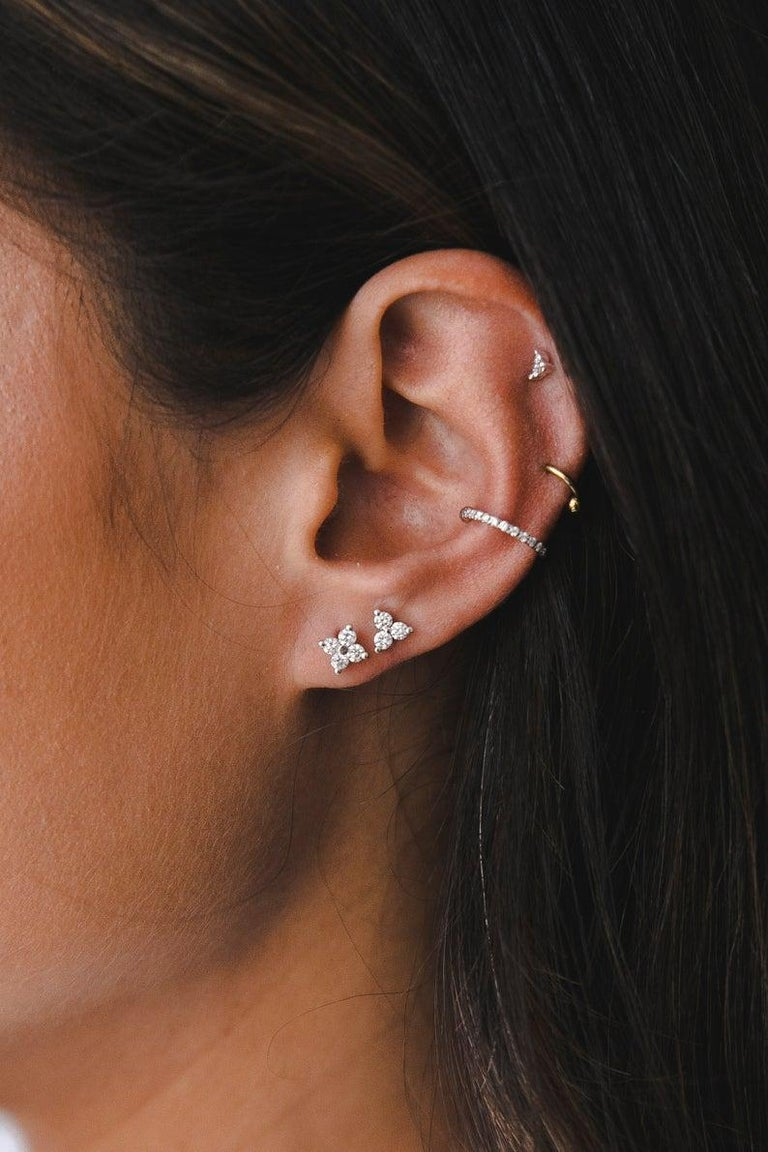 Contemporary 0.06 Carat Diamond Mini Trinity Stud Earrings in 14k White Gold, Shlomit Rogel For Sale