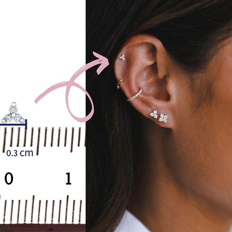 Round Cut 0.06 Carat Diamond Mini Trinity Stud Earrings in 14k White Gold, Shlomit Rogel For Sale