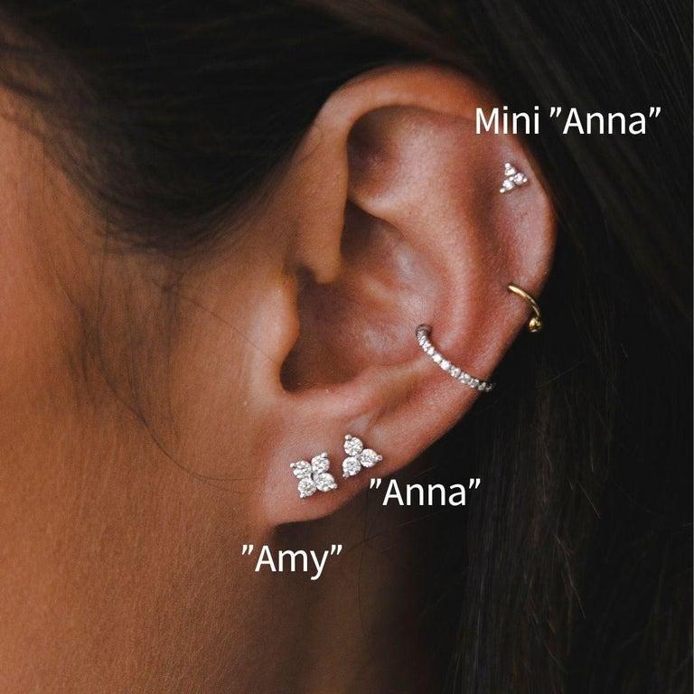 Women's 0.06 Carat Diamond Mini Trinity Stud Earrings in 14k White Gold, Shlomit Rogel For Sale