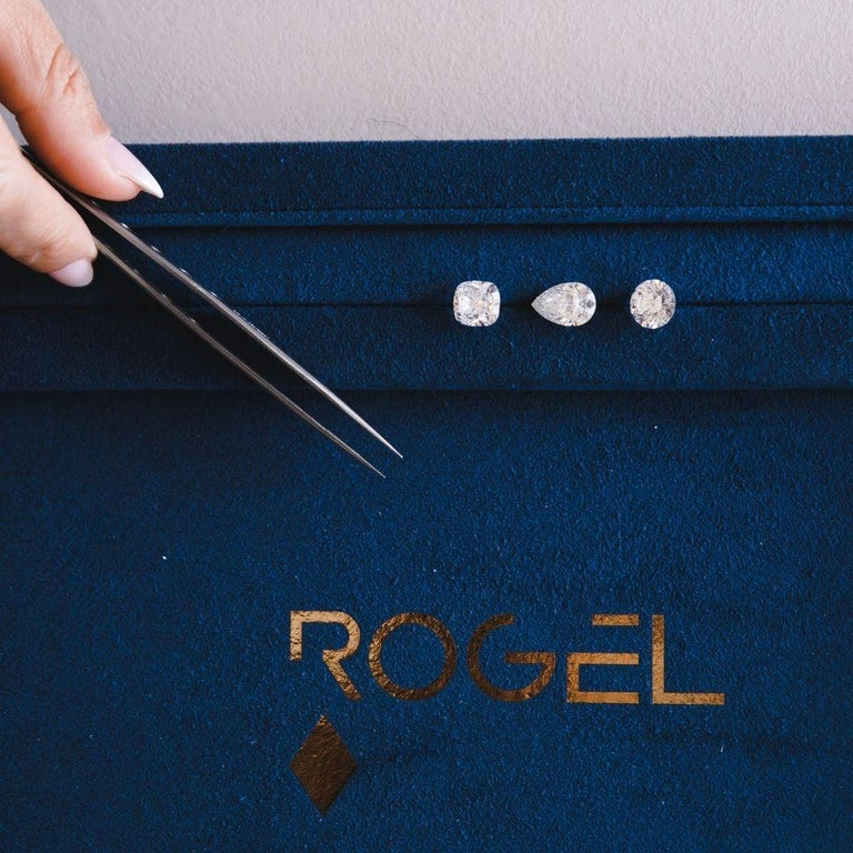 0.06 Carat Diamond Mini Trinity Stud Earrings in 14k White Gold, Shlomit Rogel For Sale 2