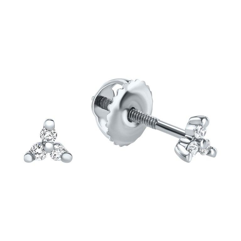 0.06 Carat Diamond Mini Trinity Stud Earrings in 14k White Gold, Shlomit Rogel For Sale