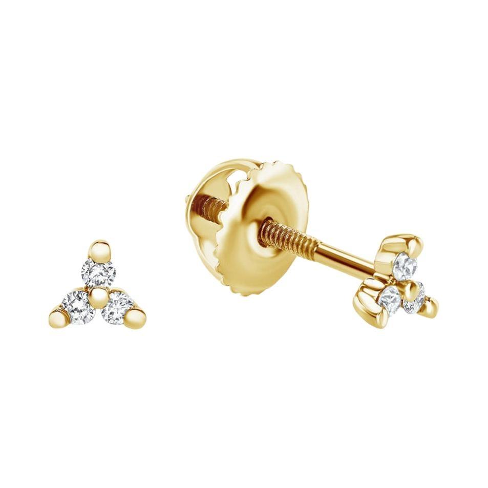 0.06 Carat Diamond Mini Trinity Stud Earrings in 14K Yellow Gold, Shlomit Rogel