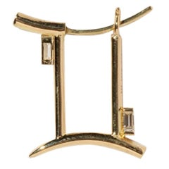 Milamore Fine Jewelry 0.08 Carat Diamond 18 Karat Gold Gemini Earring