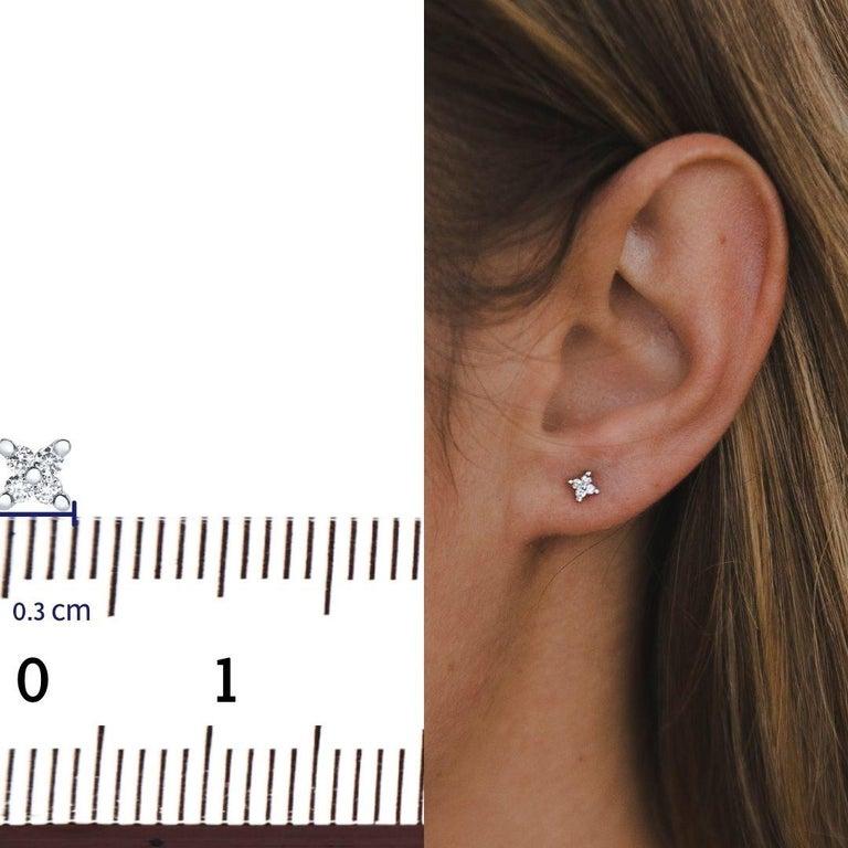 Contemporary 0.08 Carat Diamond Mini X Shape Stud Earrings in 14K White Gold, Shlomit Rogel For Sale