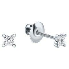 0.08 Carat Diamond Mini X Shape Stud Earrings in 14K White Gold, Shlomit Rogel