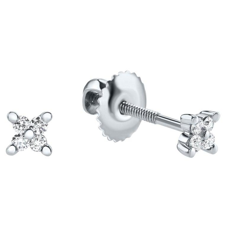 0.08 Carat Diamond Mini X Shape Stud Earrings in 14K White Gold, Shlomit Rogel For Sale