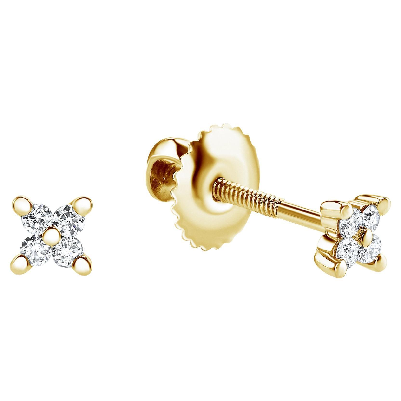 0.08 Carat Diamond Mini X Shape Stud Earrings in 14K Yellow Gold - Shlomit Rogel