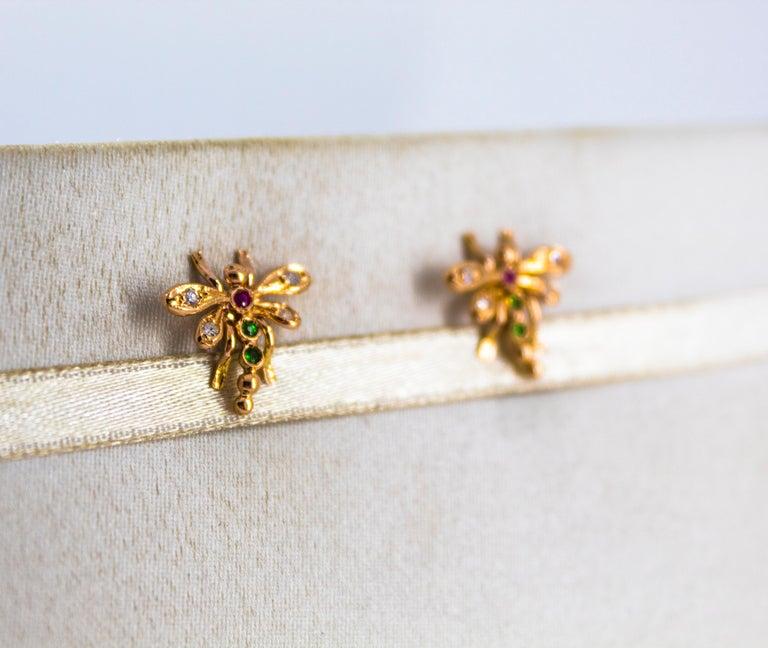 Art Nouveau 0.08 Carat White Diamond 0.06 Carat Ruby Emerald Yellow Gold Dragonfly Earrings