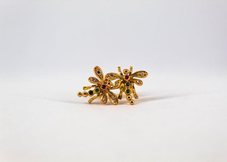 Women's or Men's 0.08 Carat White Diamond 0.06 Carat Ruby Emerald Yellow Gold Dragonfly Earrings