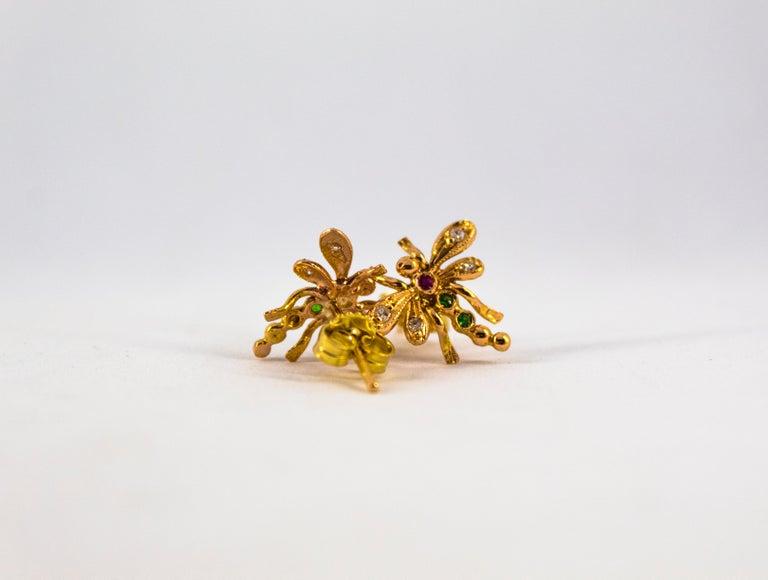 0.08 Carat White Diamond 0.06 Carat Ruby Emerald Yellow Gold Dragonfly Earrings 1