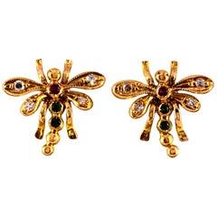 0.08 Carat White Diamond 0.06 Carat Ruby Emerald Yellow Gold Dragonfly Earrings