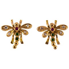 0.08 Carat White Diamond 0.06 Carat Ruby Emerald Yellow Gold Dragonfly Earrings