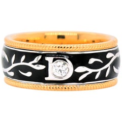 0.08 Carat White Diamond Enamel Floral Motif Ring Set in 18 Karat Yellow Gold