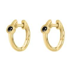 0.10 Carat Black Diamond Huggie Hoop Earrings in 14K Yellow Gold, Shlomit Rogel