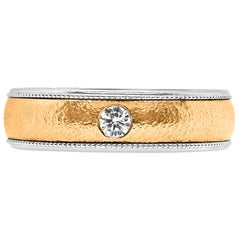 Round Diamond Bezel Set Cigar Ring Band 14K White and Rose Gold Men and Women