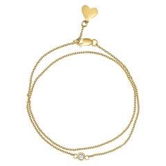 0.10 Carat Diamond Double Wrap Bracelet in 14 Karat Yellow Gold, Shlomit Rogel