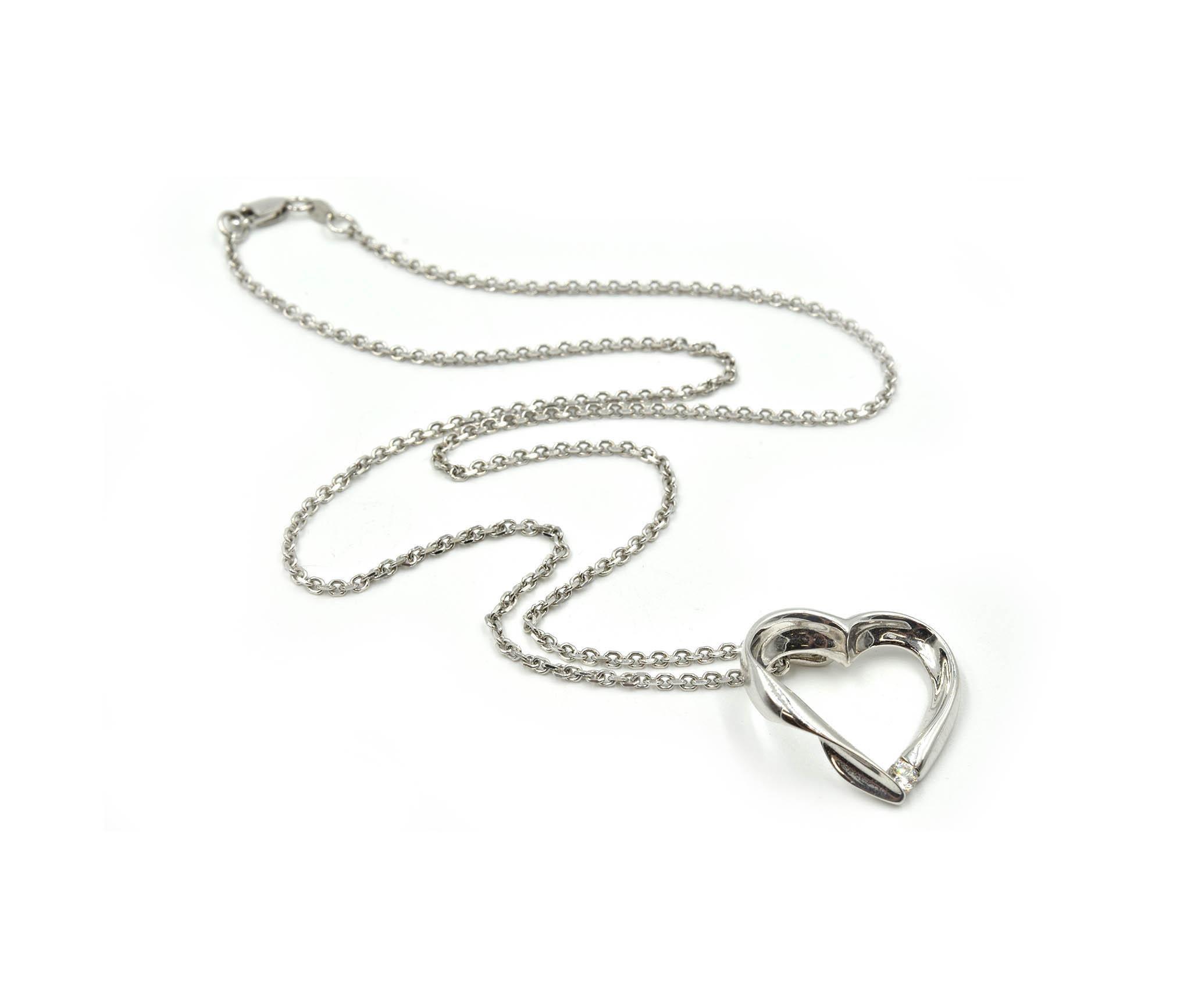 0.10 ct Round Cut Diamond Pave 14k White Gold Heart Charm Pendant Chain Necklace