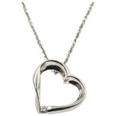 0.10 Carat Diamond Floating Heart Pendant 18k White Gold on 14k White Gold Chain