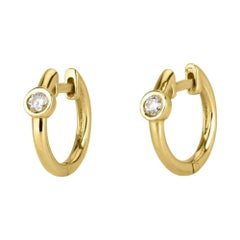 0.10 Carat Diamond Huggie Hoop Earrings in 14k Yellow Gold - Shlomit Rogel