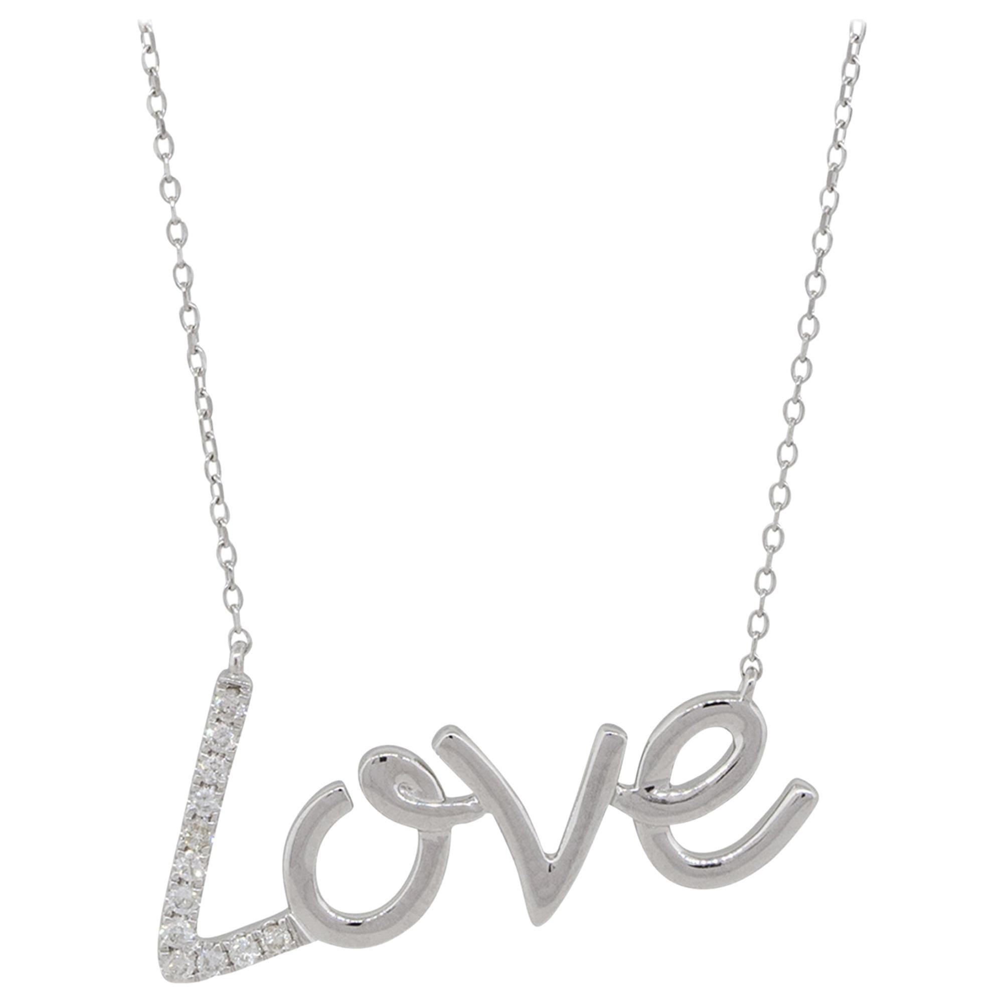 "0.10 Carat Diamond ""Love"" Pendant Necklace 14 Karat in Stock"