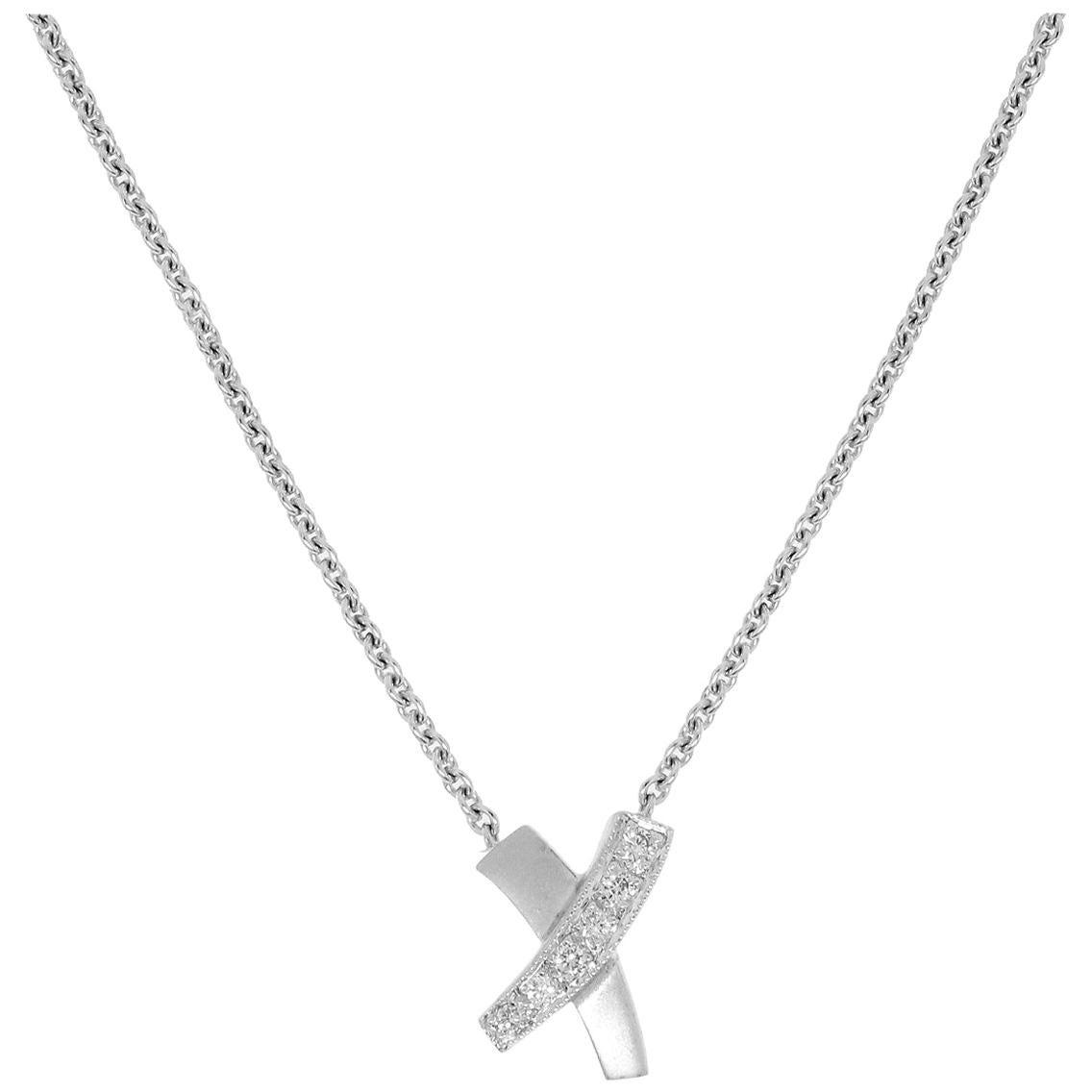 0.10 Carat Diamond X-Pendant Necklace