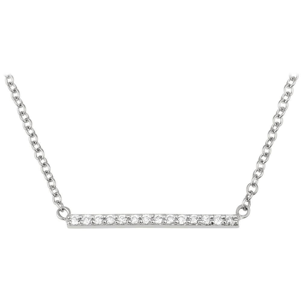 0.10 Carat Genuine Diamond Bar Necklace in 14k White Gold, Shlomit Rogel