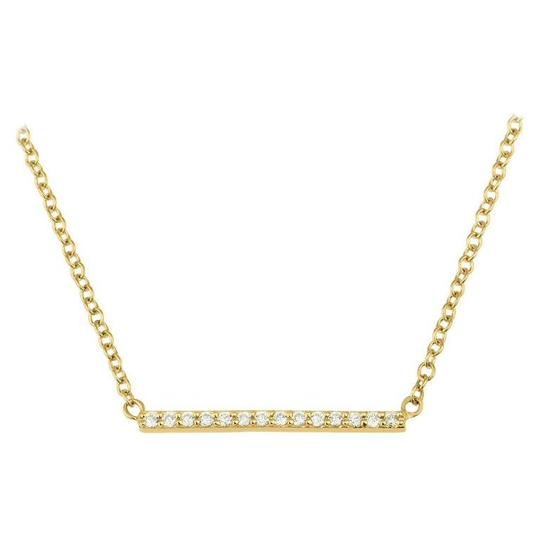 0.10 Carat Genuine Diamond Bar Necklace in 14k Yellow Gold - Shlomit Rogel For Sale