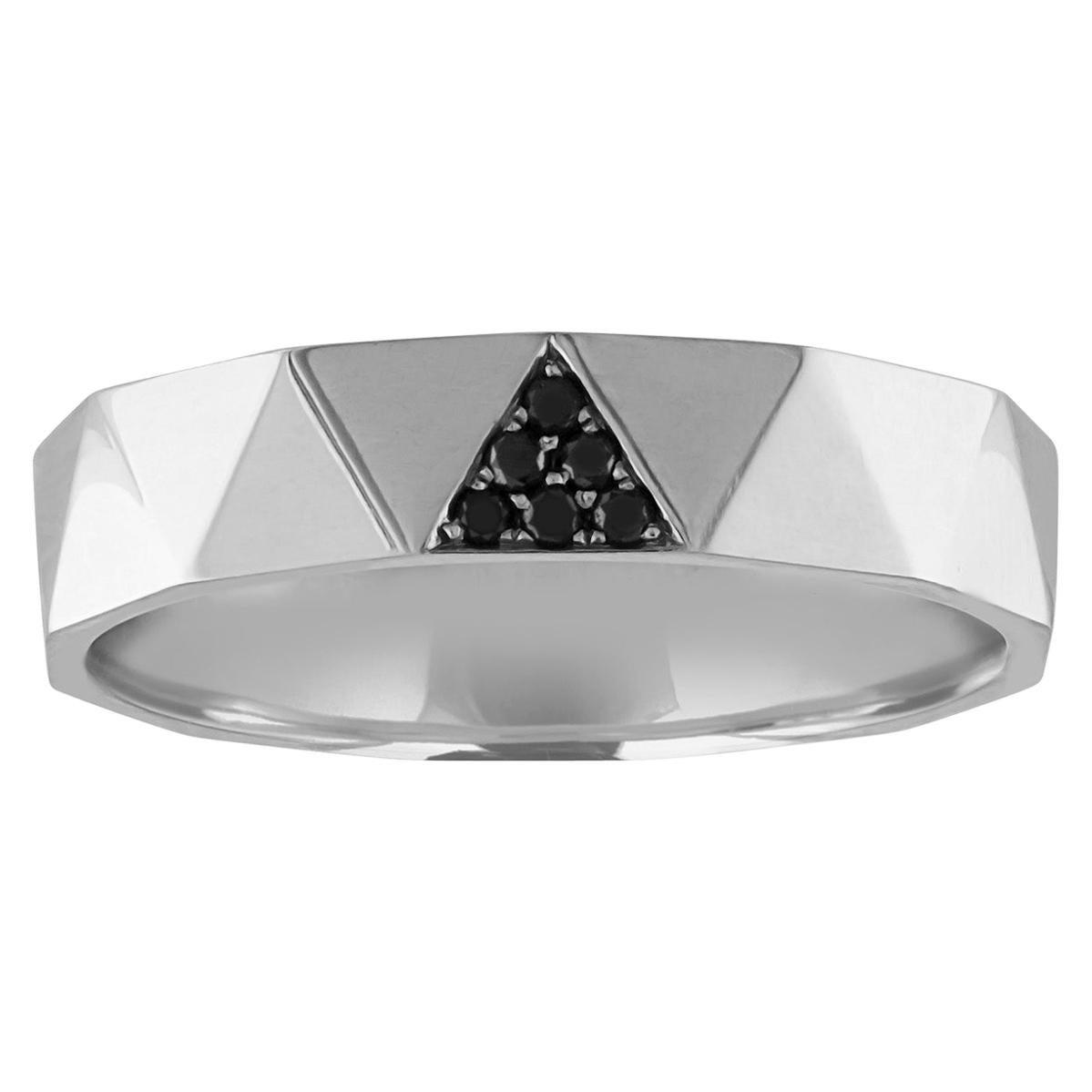 0.10 Carat Men's Black Diamond Gold Wedding Band Ring