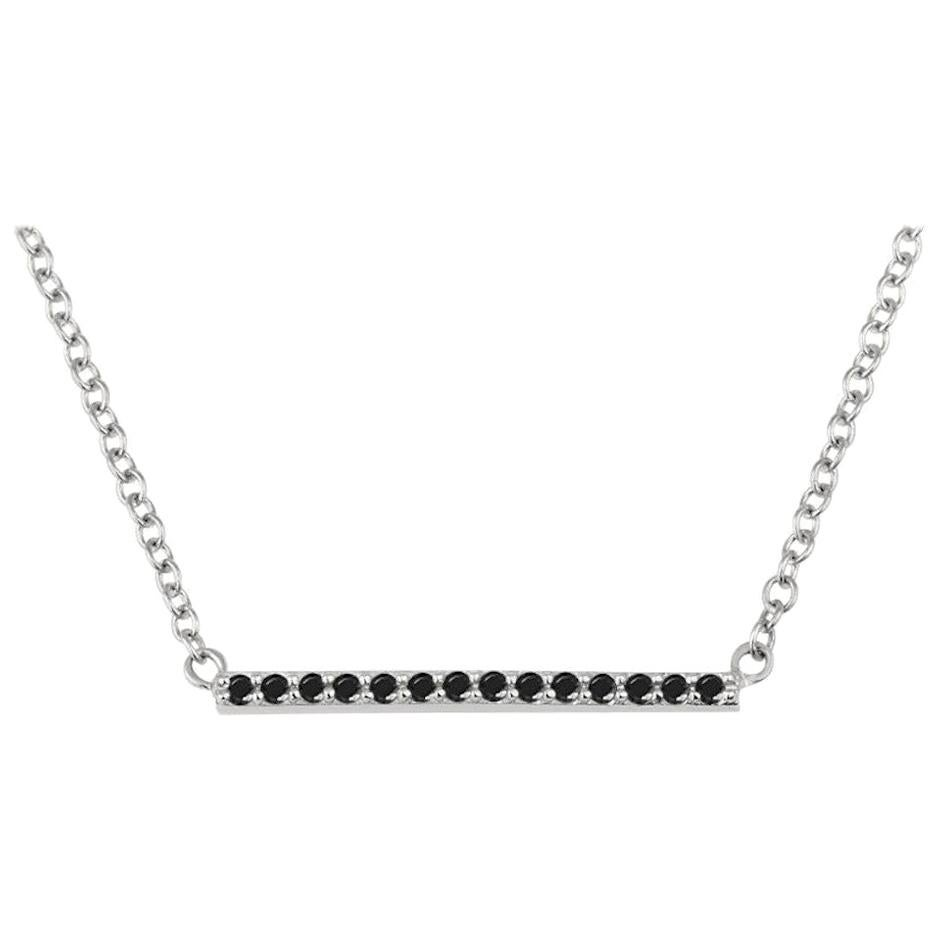 0.10 Carat Natural Black Diamond Bar Necklace in 14k White Gold, Shlomit Rogel
