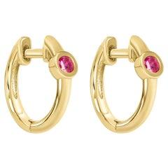 0.10 Carat Ruby Birthstone Huggie Hoop Earrings 14K Yellow Gold, Shlomit Rogel