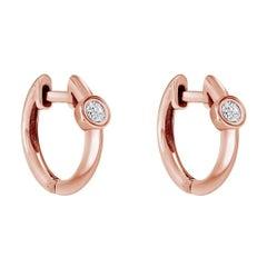 0.10 Carat Single Diamond Huggie Hoop Earrings in 14k Rose Gold - Shlomit Rogel