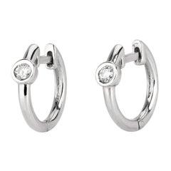 0.10 Carat Single Diamond Huggie Hoop Earrings in 14k White Gold - Shlomit Rogel