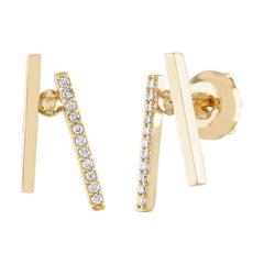 0.10 Carats Diamond & Yellow Gold Modern Abstract Earrings