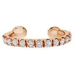 0.11 Carat Genuine Diamond Helix Cuff Earring in 14K Rose Gold, Shlomit Rogel
